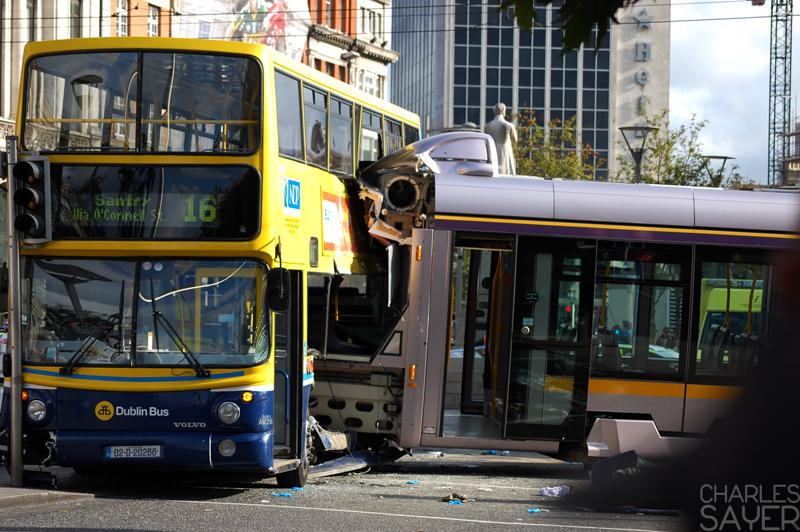 « The Luas litteraly crashed on a bus! »