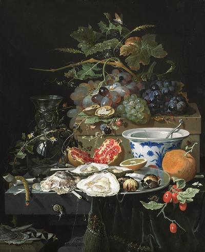 Mignon - Nature morte aux fruits, huîtres et compotier, vers 1660-1679