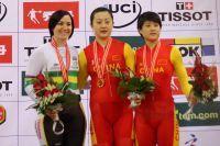 Le podium de la vitesse féminine à Pékin