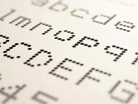 Le test typo de Pentagram, font Dot Matrix