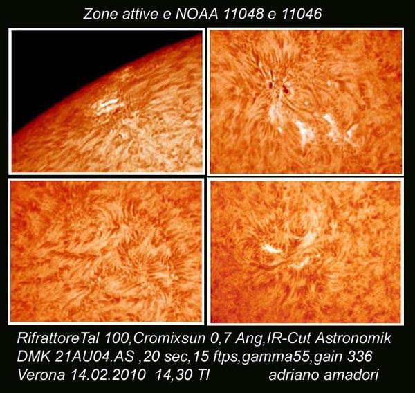 Zones actives solaires NOAA 11046 et 11048