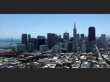 Le quartier financier depuis la Coit Tower à San Francisco, aux Etats-Unis