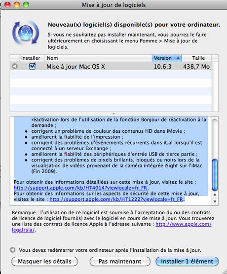 Mise à Jour Mac OSx 10.6.3