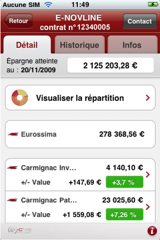 Generali L'application iPhone