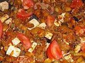 Poêlée d'aubergines jambon tofu