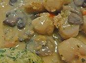 Gratin Terre-mer Saint jacques, crevettes champignons