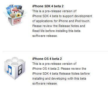 iPhone OS 4.0 bêta 2 proposé aux développeurs