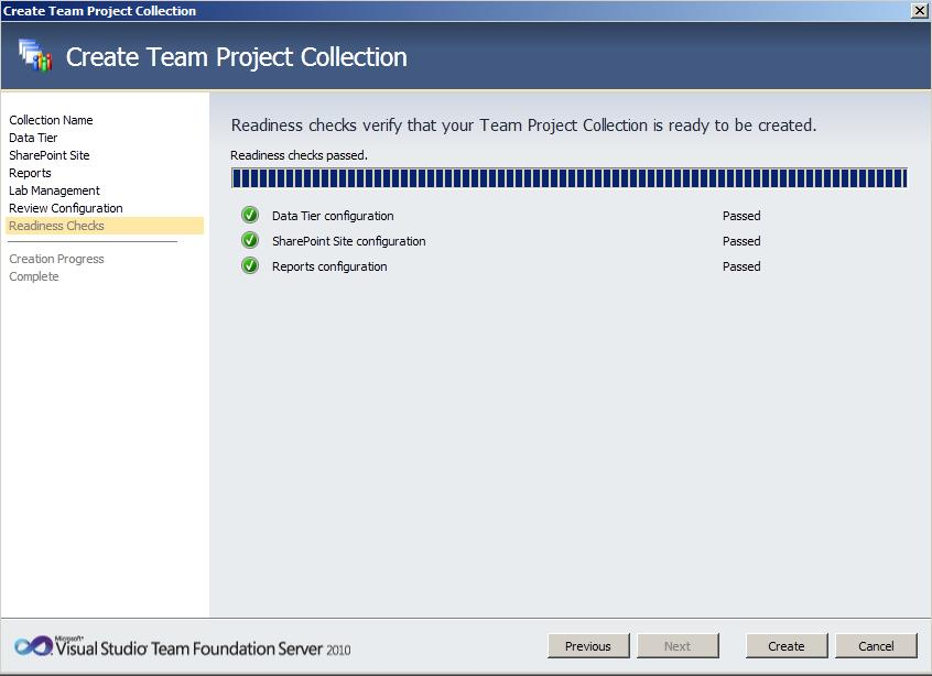 TFS Create Collection 4 Team Foundation Server 2010 : installation et configuration