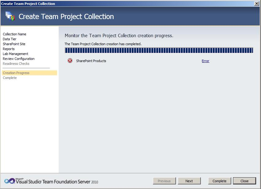 TFS Create Collection 5 Team Foundation Server 2010 : installation et configuration