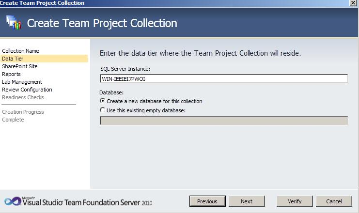 TFS Create Collection 22 Team Foundation Server 2010 : installation et configuration