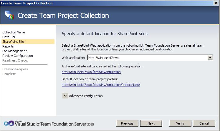 TFS Create Collection 3 Team Foundation Server 2010 : installation et configuration