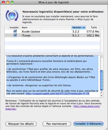 Maj : iTunes 9.1.1