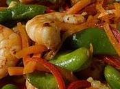 Crevettes sautées paprika légumes printanniers façon