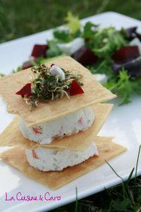 Millefeuille surimi façon cheesecake, petite salade et ...