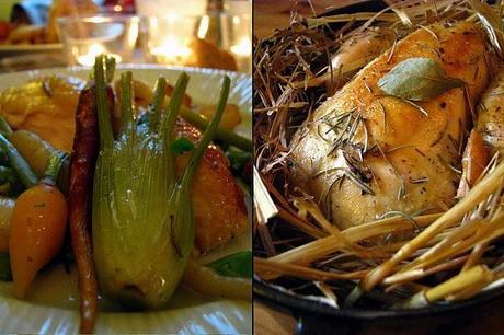 Le poulet à la paille et les divins légumes du potager d'Alain