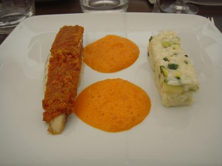 20100716 Atelier Guy Martin 11 daurade croute chorizo risotto courgette citron au sel jus piquillos Cours de cuisine à lAtelier Guy Martin (ChrisoScope)