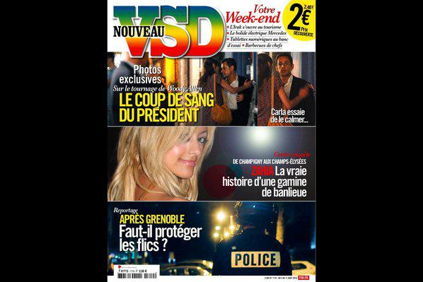 Photo : La Une du VSD en kiosque le 5 août 2010.