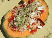 Salade sucrée/salée boulgour, germes poireaux melon