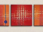 Tableau moderne design rouge orange N°34