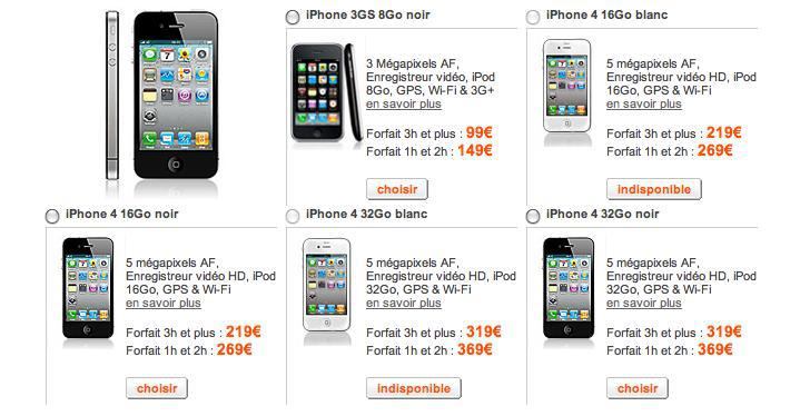 Augmentation du prix de l'iPhone 4 chez Orange...