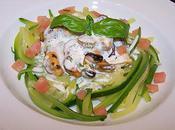 Spagettis courgettes, moules crème basilic.