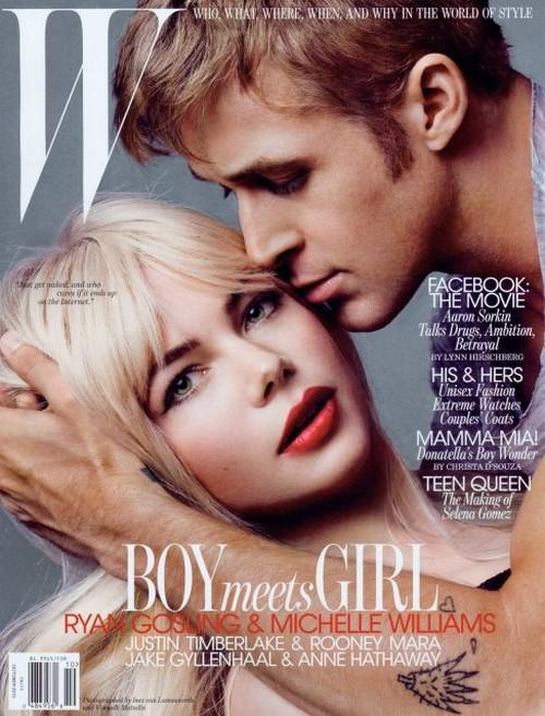 Ryan Gosling et Michelle Williams posent pour le magasine W