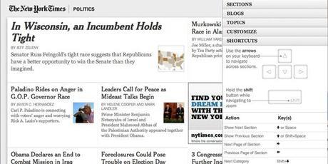 La navigation au clavier su site du New York Times