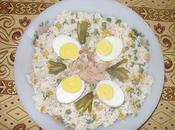 Salade riz, p.pois, thon mais