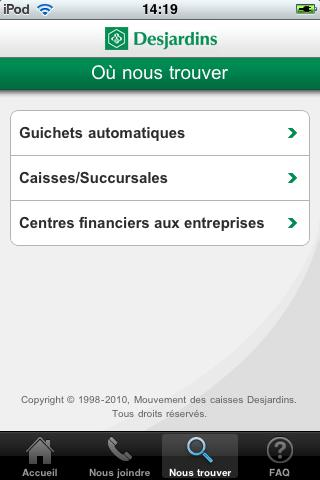 L'application Desjardins pour l'iPhone
