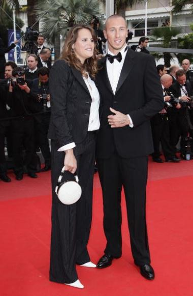 CANNES, FRANCE - MAY 16: Former swimmer Laure Manaudou and swimmer Frederick Bousquet attend 'The Princess Of Montpensier' Premiere at the Palais des Festivals during the 63rd Annual Cannes Film Festival on May 16, 2010 in Cannes, France. (Photo by Andreas Rentz/Getty Images)