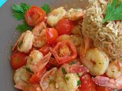 Crevettes sautées tomates cerises