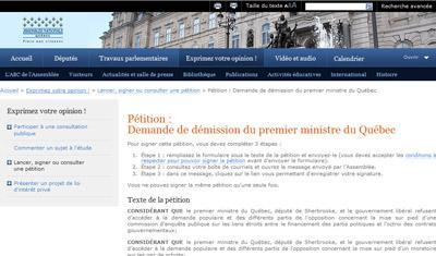 Une pétition pour la démission du premier ministre du Québec