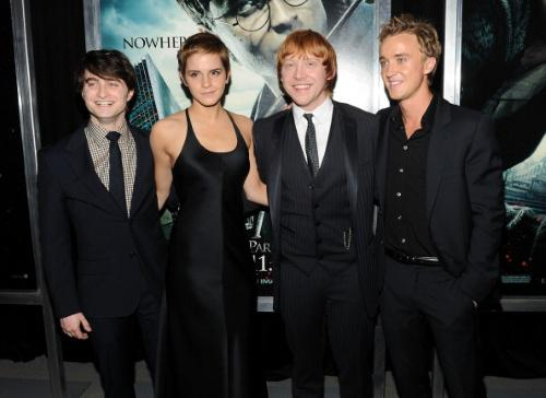 NEW YORK - NOVEMBER 15: (L-R) Actors Daniel Radcliffe; Emma Watson, Rupert Grint and Tom Felton attend the premiere of 'Harry Potter and the Deathly Hallows - Part 1' at Alice Tully Hall on November 15, 2010 in New York City. (Photo by Stephen Lovekin/Getty Images)