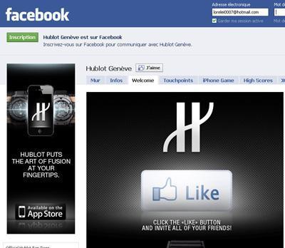 La page d'Hublot dur Facebook.