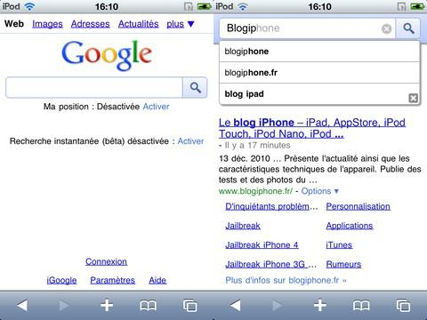 Google Instant activable sur l'iPhone en France !