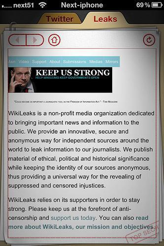 Top secret! WikiLeaks sur iPhone...
