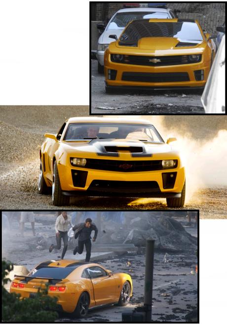 Au centre Bumbelbee dans Transformers 2 - En haut et en bas Bumbelbee dans Transformers 3