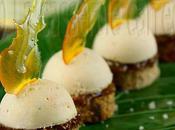 Canapés foie gras mousseux confiture figues pain d'épices fruits confits