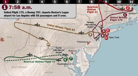 trajectoires des avions le 11 Septembre 2001