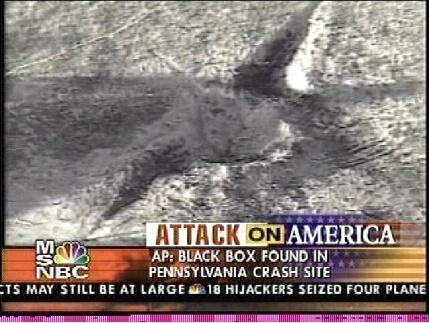 le cratère d'impact du soit disant vol UA93 le 11 septembre 2001