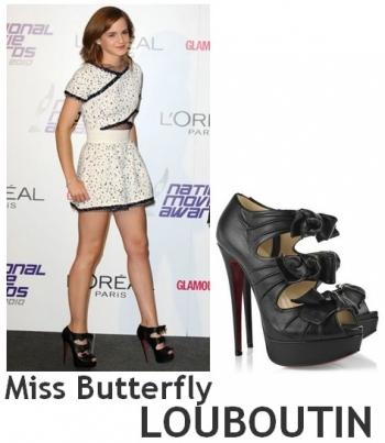 Emma Watson in CARVEN, LOUBOUTIN, CHARLOTTE OLYMPIA et WHISTLES