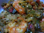 Okras scampi with shrimp