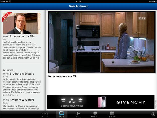 TF1 : l'application iPad se montre