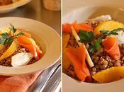 Salade lentilles, fenouil, orange saumon fumé