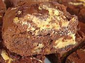 Brownie chocolat noir marbré beurre cacahuète