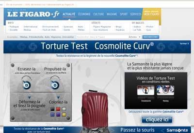 Communication intéractive de Samsonite Curv sur Lefigaro avec Piximedia