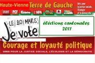 Cantonales 2011 Haute-Vienne Terre Gauche présente candidats