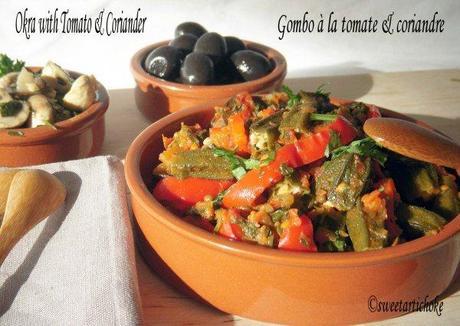 Okra (bhindi) with tomato & coriander – Gombos à la tomate et coriandre