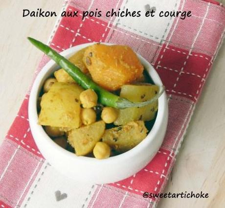 White Radish with chickpeas and Pumpkin + Events announcement – Daikon aux pois chiches et courge