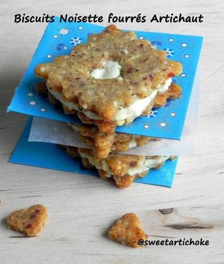 Artichoke & hazelnut sandwich cookies – event announcement – Biscuits noisette et artichaut